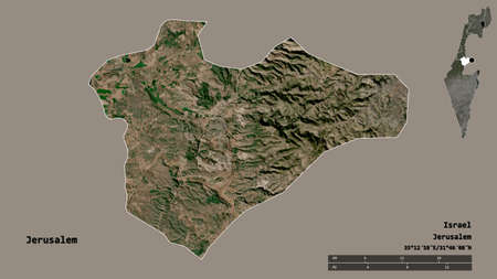 Shape of Jerusalem, district of Israel, with its capital isolated on solid background. Distance scale, region preview and labels. Satellite imagery. 3D rendering