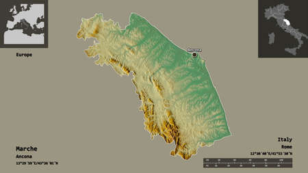 Shape of Marche, region of Italy, and its capital. Distance scale, previews and labels. Topographic relief map. 3D rendering