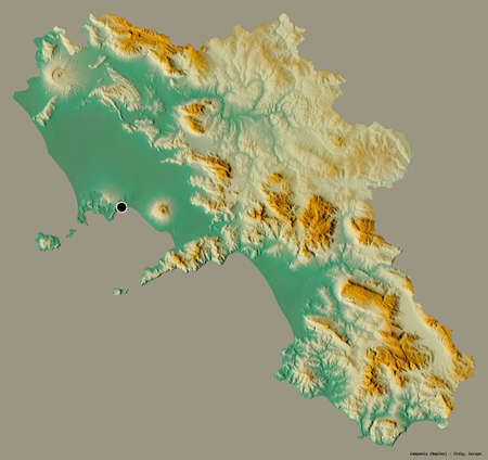 Shape of Campania, region of Italy, with its capital isolated on a solid color background. Topographic relief map. 3D rendering