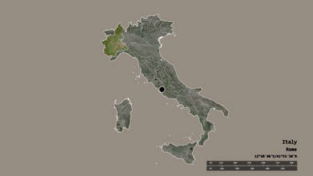 Desaturated shape of Italy with its capital, main regional division and the separated Piemonte area. Labels. Satellite imagery. 3D rendering Zdjęcie Seryjne