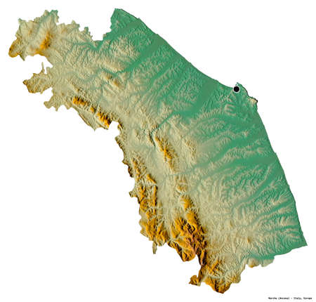 Shape of Marche, region of Italy, with its capital isolated on white background. Topographic relief map. 3D rendering