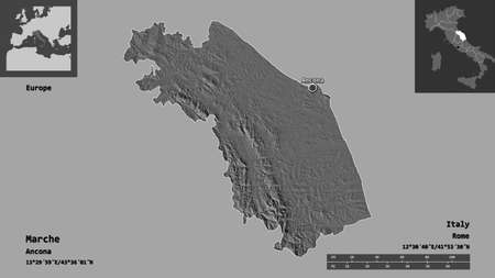 Shape of Marche, region of Italy, and its capital. Distance scale, previews and labels. Bilevel elevation map. 3D rendering