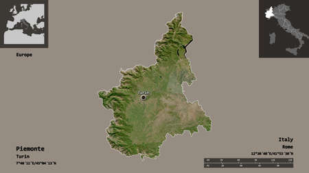 Shape of Piemonte, region of Italy, and its capital. Distance scale, previews and labels. Satellite imagery. 3D rendering