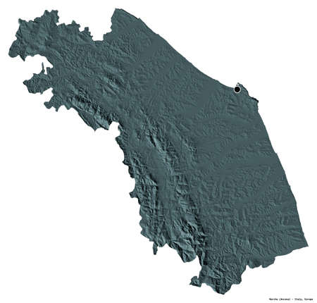 Shape of Marche, region of Italy, with its capital isolated on white background. Colored elevation map. 3D rendering