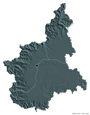 Shape of Piemonte, region of Italy, with its capital isolated on white background. Colored elevation map. 3D rendering