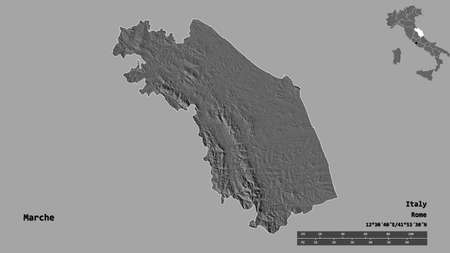 Shape of Marche, region of Italy, with its capital isolated on solid background. Distance scale, region preview and labels. Bilevel elevation map. 3D rendering Archivio Fotografico
