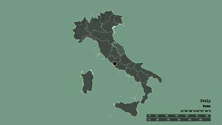 Desaturated shape of Italy with its capital, main regional division and the separated Marche area. Labels. Colored elevation map. 3D rendering Archivio Fotografico
