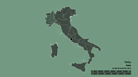 Desaturated shape of Italy with its capital, main regional division and the separated Piemonte area. Labels. Colored elevation map. 3D rendering