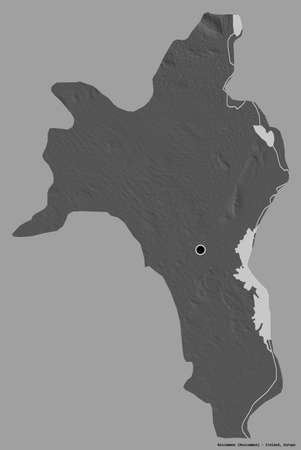 Shape of Roscommon, county of Ireland, with its capital isolated on a solid color background. Bilevel elevation map. 3D rendering