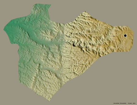 Shape of Jerusalem, district of Israel, with its capital isolated on a solid color background. Topographic relief map. 3D rendering