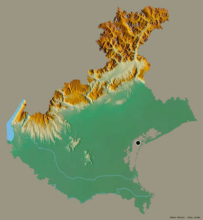 Shape of Veneto, region of Italy, with its capital isolated on a solid color background. Topographic relief map. 3D rendering 版權商用圖片