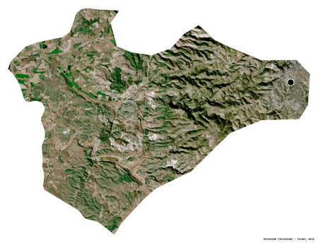 Shape of Jerusalem, district of Israel, with its capital isolated on white background. Satellite imagery. 3D rendering Banco de Imagens