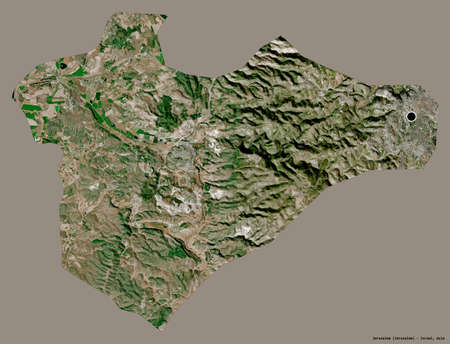 Shape of Jerusalem, district of Israel, with its capital isolated on a solid color background. Satellite imagery. 3D rendering