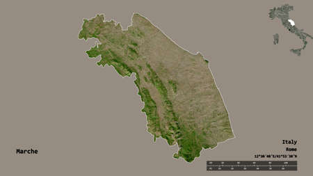Shape of Marche, region of Italy, with its capital isolated on solid background. Distance scale, region preview and labels. Satellite imagery. 3D rendering