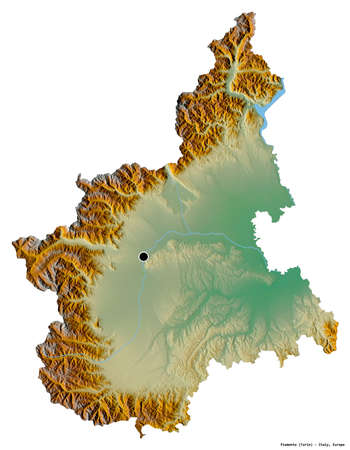 Shape of Piemonte, region of Italy, with its capital isolated on white background. Topographic relief map. 3D rendering