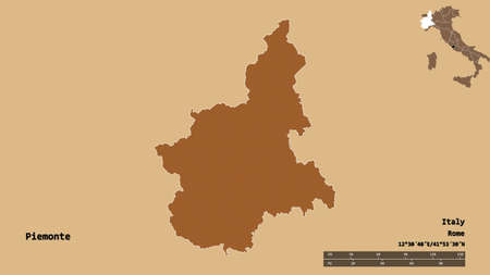Shape of Piemonte, region of Italy, with its capital isolated on solid background. Distance scale, region preview and labels. Composition of patterned textures. 3D rendering