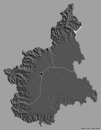 Shape of Piemonte, region of Italy, with its capital isolated on a solid color background. Bilevel elevation map. 3D rendering
