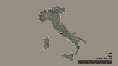 Desaturated shape of Italy with its capital, main regional division and the separated Marche area. Labels. Satellite imagery. 3D rendering