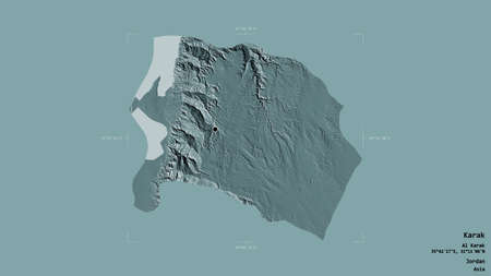 Area of Karak, province of Jordan, isolated on a solid background in a georeferenced bounding box. Labels. Colored elevation map. 3D rendering Banque d'images