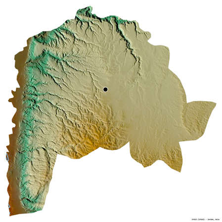 Shape of Irbid, province of Jordan, with its capital isolated on white background. Topographic relief map. 3D rendering