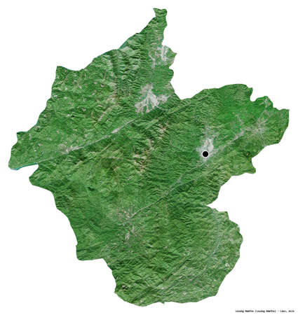 Shape of Louang Namtha, province of Laos, with its capital isolated on white background. Satellite imagery. 3D rendering