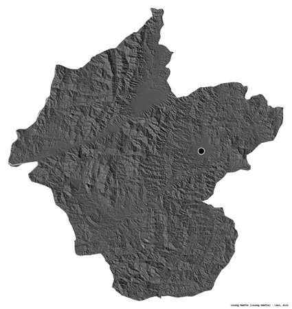 Shape of Louang Namtha, province of Laos, with its capital isolated on white background. Bilevel elevation map. 3D rendering