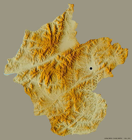 Shape of Louang Namtha, province of Laos, with its capital isolated on a solid color background. Topographic relief map. 3D rendering