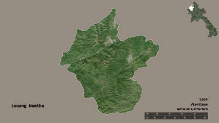 Shape of Louang Namtha, province of Laos, with its capital isolated on solid background. Distance scale, region preview and labels. Satellite imagery. 3D rendering