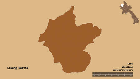 Shape of Louang Namtha, province of Laos, with its capital isolated on solid background. Distance scale, region preview and labels. Composition of patterned textures. 3D rendering