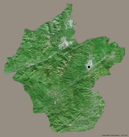 Shape of Louang Namtha, province of Laos, with its capital isolated on a solid color background. Satellite imagery. 3D rendering Reklamní fotografie