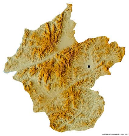 Shape of Louang Namtha, province of Laos, with its capital isolated on white background. Topographic relief map. 3D rendering Reklamní fotografie