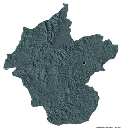 Shape of Louang Namtha, province of Laos, with its capital isolated on white background. Colored elevation map. 3D rendering