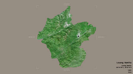 Area of Louang Namtha, province of Laos, isolated on a solid background in a georeferenced bounding box. Labels. Satellite imagery. 3D rendering
