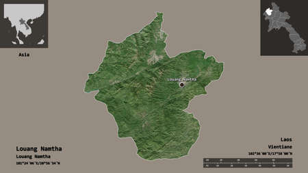 Shape of Louang Namtha, province of Laos, and its capital. Distance scale, previews and labels. Satellite imagery. 3D rendering
