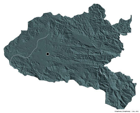 Shape of Xiangkhoang, province of Laos, with its capital isolated on white background. Colored elevation map. 3D rendering