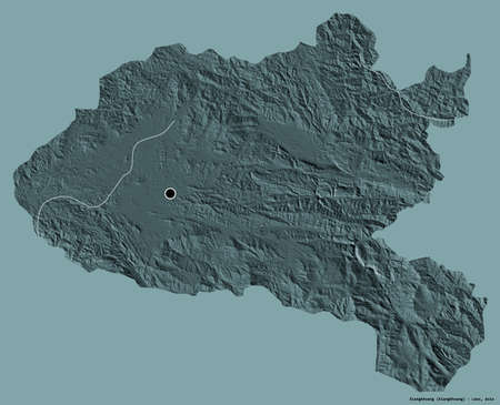 Shape of Xiangkhoang, province of Laos, with its capital isolated on a solid color background. Colored elevation map. 3D rendering