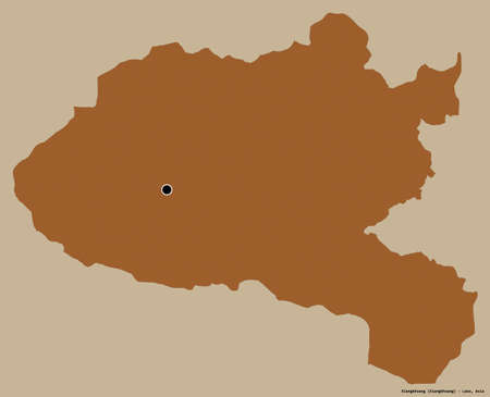 Shape of Xiangkhoang, province of Laos, with its capital isolated on a solid color background. Composition of patterned textures. 3D rendering