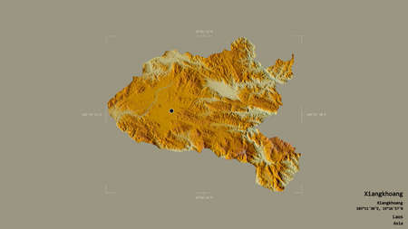 Area of Xiangkhoang, province of Laos, isolated on a solid background in a georeferenced bounding box. Labels. Topographic relief map. 3D rendering