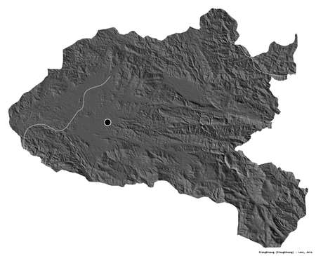 Shape of Xiangkhoang, province of Laos, with its capital isolated on white background. Bilevel elevation map. 3D rendering