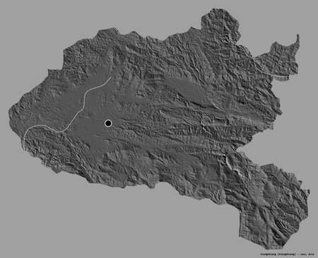 Shape of Xiangkhoang, province of Laos, with its capital isolated on a solid color background. Bilevel elevation map. 3D rendering