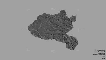 Area of Xiangkhoang, province of Laos, isolated on a solid background in a georeferenced bounding box. Labels. Bilevel elevation map. 3D rendering