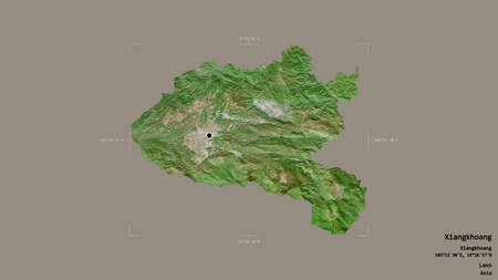 Area of Xiangkhoang, province of Laos, isolated on a solid background in a georeferenced bounding box. Labels. Satellite imagery. 3D rendering