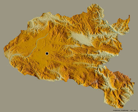 Shape of Xiangkhoang, province of Laos, with its capital isolated on a solid color background. Topographic relief map. 3D rendering