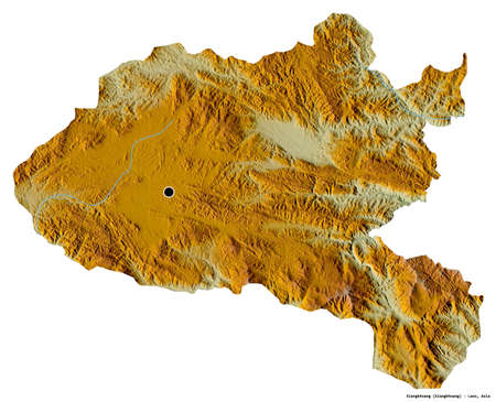 Shape of Xiangkhoang, province of Laos, with its capital isolated on white background. Topographic relief map. 3D rendering