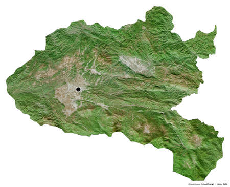 Shape of Xiangkhoang, province of Laos, with its capital isolated on white background. Satellite imagery. 3D rendering