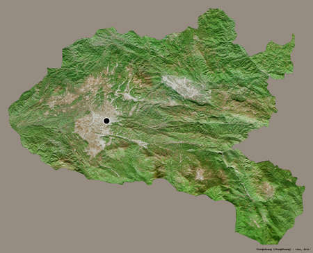 Shape of Xiangkhoang, province of Laos, with its capital isolated on a solid color background. Satellite imagery. 3D rendering