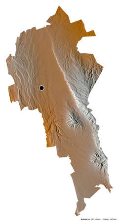 Shape of Nyandarua, county of Kenya, with its capital isolated on white background. Topographic relief map. 3D rendering