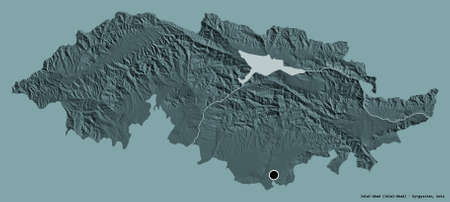 Shape of Jalal-Abad, province of Kyrgyzstan, with its capital isolated on a solid color background. Colored elevation map. 3D rendering Фото со стока