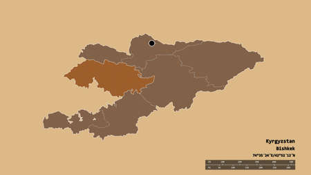 Desaturated shape of Kyrgyzstan with its capital, main regional division and the separated Jalal-Abad area. Labels. Composition of patterned textures. 3D rendering