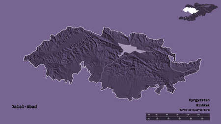 Shape of Jalal-Abad, province of Kyrgyzstan, with its capital isolated on solid background. Distance scale, region preview and labels. Colored elevation map. 3D rendering